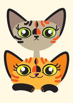"""Cat Team Tortifique"" These are my two sweet devon rex kittens.  They are sisters, but quite different both in appearance and character! They even have their own insta account @tortifique Haha,  I guess i captured them pretty accurately! :D Available also on t-shirts, mugs, phonecases, stickers and lot more - check out my shop! ;)"