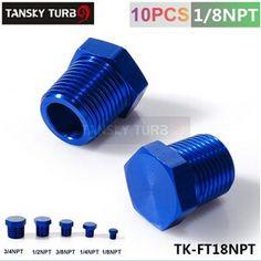 "TANSKY - 1/8"" NPT ALUMINUM FITTING HEX HEAD PLUG CAP THREADED Blue TK-FT18NPT"