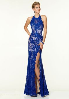 Halter Floor Length Blue Lace Sheath-column Prom Dress
