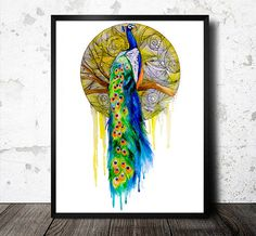 Peacock  watercolor  painting print,  art, peacock watercolor, watercolor painting, giclee print, watercolor animal, animal illustration by SlaviART on Etsy https://www.etsy.com/listing/127707350/peacock-watercolor-painting-print-art
