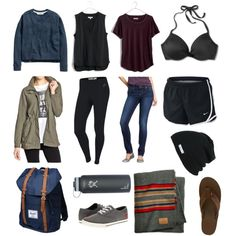 | Camping: Humboldt Redwoods by jordann-hale on Polyvore / capsule wardobe / minimal fashion / muted tones - outfit idea - dream closet - minimal wardrobe - wear black - project 33 - capsule wardrobe