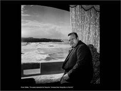 """Eduardo Gageiro - Orson Welles in Guincho (Portugal) Orson Welles. """"Era quase impossível de fotografar. Consegui duas fotografias no Guincho""""."""
