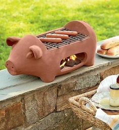 Hibachi Outdoor Barbeque Charcoal Grill Portable Camp/Tailgate Terracotta Pig for sale online Ceramic Pottery, Ceramic Art, Outdoor Barbeque, Vibeke Design, Flying Pig, This Little Piggy, Charcoal Grill, Hearth, Terra Cotta