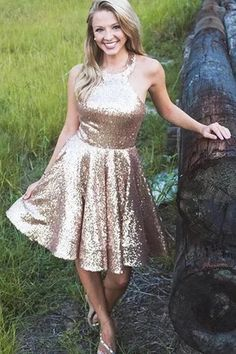 Shiny Sequin Halter Simple Homecoming Dresses, Sparkly Sequin Short Homecoming Dress This dress could be custom made, there are no extra cost to do custom size and color Sexy Dresses, Best Formal Dresses, Dresses Short, Affordable Dresses, Cheap Dresses, Prom Dresses, Satin Dresses, Wedding Dresses, Tulle Ball Gown