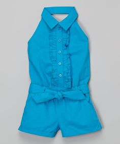 Loving this Blue Halter Romper - Infant, Toddler & Girls on #zulily! #zulilyfinds