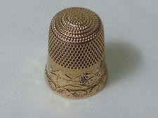 Antique Vintage 14K solid yellow gold Ornate thimble sz 8 - 3.8g