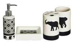 Etonnant Four Piece Ceramic Bath Accessories Set Is Decorated With Elephant Themed  Prints, Adding A Modern And Chic Touch To Bathroom Decor