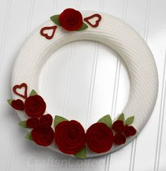 Valentine Wreath Week: Repurpose a sweater & make a cozy Valentine Sweater Wreath   felt flower tute at foxhollowcottage.com