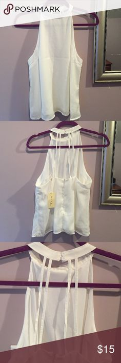BLVD High neck detailed back tank top White size Small high neck tanktop. Features open back with button/strap details. Zipper closure. Never worn. Bundle and save BLVD Tops Tank Tops