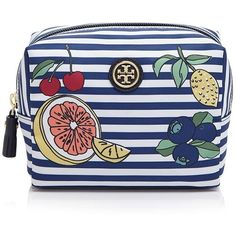 Tory Burch Printed Nylon Brigitte Cosmetic Case ($83) ❤ liked on Polyvore featuring beauty products, beauty accessories, bags & cases, fruit stripe, travel toiletry case, travel dopp kit, tory burch makeup bag, dopp bag and make up bag
