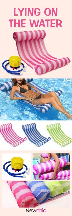 Color Stripe Outdoor Floating Sleeping Bed Water Hammock Pool Accessories With Air Pump Water Hammock, Contemporary Beach House, Craft Stalls, Pool Accessories, Pool Noodles, Water Toys, Pool Landscaping, Pool Houses, Pool Designs