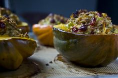 """Acorn Squash with Pecan-Cherry Stuffing, from """"The Urban Vegan"""" by Dynise Balcavage. We made this dish as a vegetarian option for Thanksgiving, but it's a perfect main course for any fall or winter meal."""