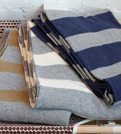 Warm Cozy Blankets - Throw Blankets for Winter - Country Living Blankets For Winter, Warm Blankets, Throw Blankets, Stay Warm, Warm And Cozy, Contemporary Blankets, French Fabric, French Country Style, Grey Stripes