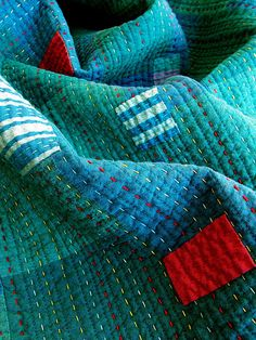 Kantha quilt - love the big fat quilting threads