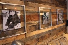 wood pallet wall - love the clear glass frames!
