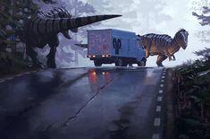 Life with dinosaurs, by artist Simon Stålenhag.