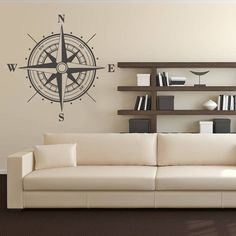 Wall Vinyl Sticker Decals Compass Rose Nautical Navigate Ship Ocean (r302) in Decals, Stickers & Vinyl Art | eBay