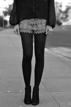 Now I know how to wear Lace shorts without looking 19...with sheer tights and ankle boots thank you!