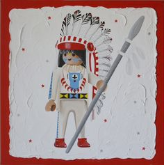 "Playmobil ""chef indien"" réalisé à la peinture acrylique sur fond enduit. Perles collées sur l'habit pour le relief. Format 80x80. Couleurs au choix. Relief, Recherche Google, Marie, Personalised Canvas, Acrylic Paintings, Board, Cement Render, Canvases, Indian"