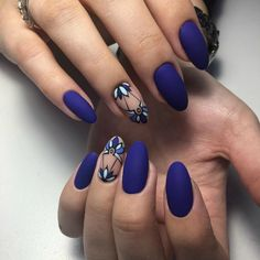 "If you're unfamiliar with nail trends and you hear the words ""coffin nails,"" what comes to mind? It's not nails with coffins drawn on them. It's long nails with a square tip, and the look has. Classy Nail Designs, Nail Art Designs, Hair And Nails, My Nails, Fake Gel Nails, Oval Nails, Shellac Nails, Blue Matte Nails, Matte Black"