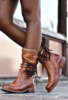 Cognac color leather, short boot style hand made by BEDSTU. This style has dual accent laces, and flat stud details for fun and playful look. Wear it with dresses and denim. #bootsoutfit