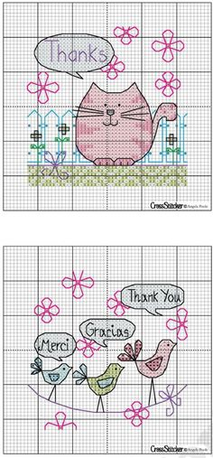 My Cross Stitch Gallery Birds speaking (from top to bottom)English,Spanish,French ! Too cute