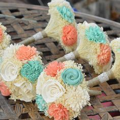 Best Mint Coral Ivory Wedding Products on Wanelo
