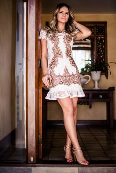 Meu look – Fabulous! Day Dresses, Cute Dresses, Beautiful Dresses, Short Sleeve Dresses, Summer Dresses, Formal Dresses, Fashion Outfits, Womens Fashion, Fashion Trends