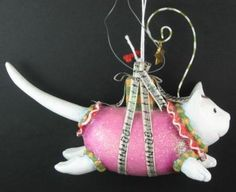 Joyful Cat Christmas Krinkles by Patience Brewster ornament