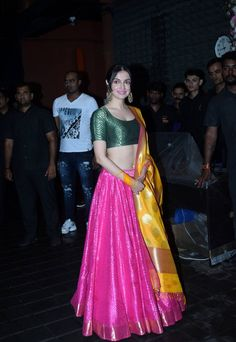 Divya Khosla At Arpita Khan Home For Ganesh Chaturthi Indian Bridal Lehenga, Indian Bridal Outfits, Indian Fashion Dresses, Dress Indian Style, Indian Designer Outfits, Indian Gowns Dresses, Indian Bridal Wear, Designer Bridal Lehenga, Kurti Designs Party Wear