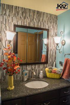 Bathroom by the Kaz Companies in Buffalo NY. Haas Vanity Lancaster Maple-Java…