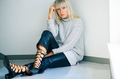 Lace up shoes and leather pants. Tickle Your Fancy | Lily.fi