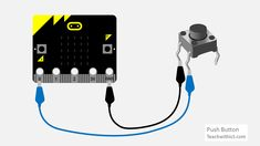 How to attach a Push Button to a micro:bit. Robot Kits, Coding For Kids, Chromebook, Arduino, Physics, Buttons, Places, Projects, Ideas