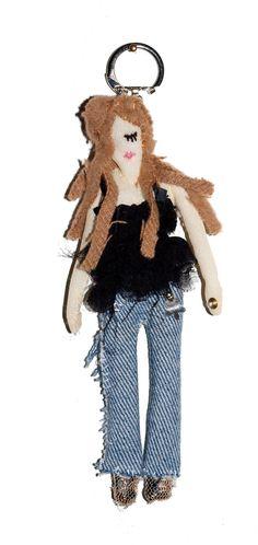 Doll keychain / art doll / doll fabric / par GabrielleAznarBazar, €20,00