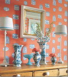 orange_blue_chinoiserie Thibaut wallpaper