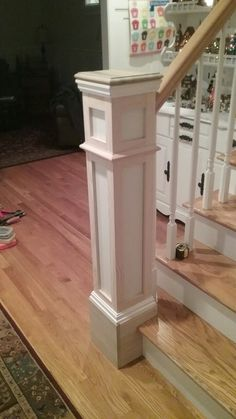Building over standard newel post for an updated Craftsmen look to match the board and batten walls Stair Newel Post, Stair Posts, Newel Posts, Staircase Remodel, Staircase Railings, Banisters, Stairways, Front Stairs, House Stairs