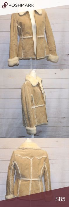 BKE Vintage Leather Jacket Beige size Medium EUC BKE Vintage Leather Jacket Beige with Faux fur trim Size: Medium There is a small patch of faux fur missing on the back, shown in photos 3 & 4 I am 5'11 and this jacket fit me perfectly. BKE Jackets & Coats