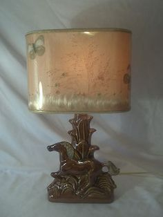 Van Briggle Pottery Horse Lamp and Butterfly Shade |