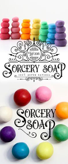 Sorcery Soap Dough, cold process soap, moldable. #soapdough #sorcerysoap #playdough