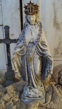 Virgin Mary cement statue with crown white distressed French inspired embellished home decor Anita Spero on Etsy Madonna, Religious Icons, Religious Art, Mother Mary, Mother And Child, Cement Statues, Virgin Mary Statue, Lady Of Lourdes, Altar Decorations