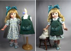 Dress and Apron for Bleuette by House-of-Bleus. Paisley embroidery on apron mimics design of the dress fabric.