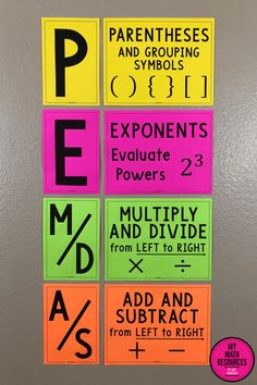 PEMDAS Order of Operations Poster, Bulletin Board & Anchor Chart This PEMDAS Order of Operations Bulletin Board & Poster is the perfect classroom decor for any or Grade Math Class. This is vital information for Upper Elementary, Middle Math Strategies, Math Resources, Classroom Resources, Classroom Ideas, Math Tips, Future Classroom, Math Teacher, Teaching Math, Math Math
