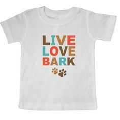 Inktastic Live Love Bark Baby T-Shirt Laugh Dog Lover I Dogs Bone Paw Print Pinkinkartkids Fun Humor Funny T-shirt Infant Tees Shower Gift Clothing Apparel, Infant Boy's, Size: 18 Months, White