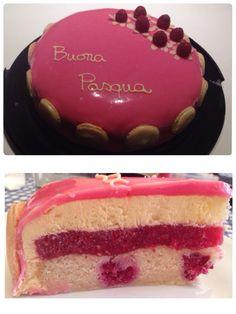 Layer cake: raspberry financier, raspberry gelly, almond milk mousse, white chocolate glaze.