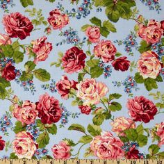 Rambling Rose Large Floral Blue - Discount Designer Fabric - Fabric.com  $7.98