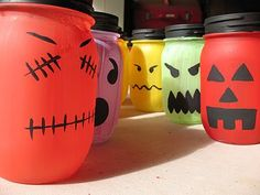 cute luminaries for halloween. now i can get rid of my mason jars and have an activity for babysitting