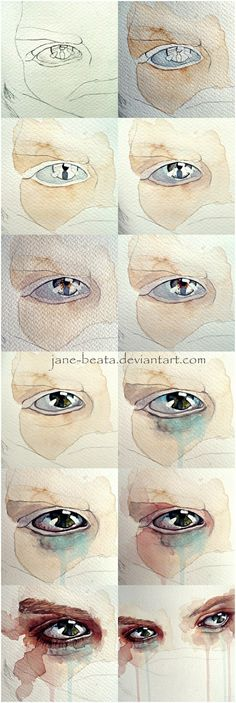 Flower Drawings Techniques Watercolor eye tutorial, one eye closeup by =jane-beata on deviantART: - Watercolor Face, Watercolor Portraits, Watercolor Paintings, Simple Watercolor, Tattoo Watercolor, Watercolor Landscape, Watercolor Animals, Watercolor Flowers, Watercolor Background