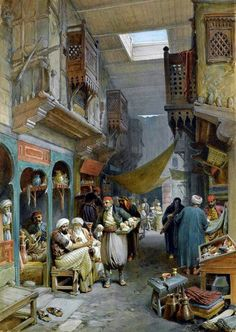 A bazar, apparently in Cairo, from looking at the architecture of the wooded framed windows.  In the days before electricity, bazars would be lighted up by small openings on the roofs as seen here.  Era could be any time between 1600s and 1800s.