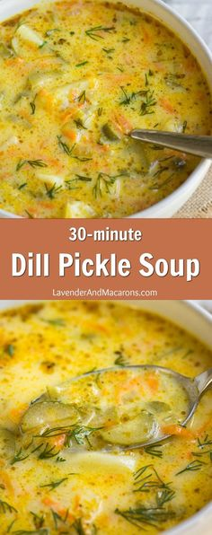 If you& looking for a soup recipe to warm you on a cold autumn night, this 30 minute Dill Pickle Soup will do the job. It& loaded with briny dill pickles, potatoes, carrots and onions for a hearty and cozy soup your whole family will enjoy! This easy a Dill Recipes, Healthy Soup Recipes, Cooking Recipes, Simple Soup Recipes, Autumn Soup Recipes Vegetarian, Autumn Food Recipes, Pasta Recipes, Chicken Recipes, Gourmet