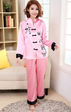 367e6f4aea Pink Traditional Chinese Women Silk Pajamas Set Embroidery Pyjamas Suit Home  Wear Tang Suit Sleepwear Flower M L XL